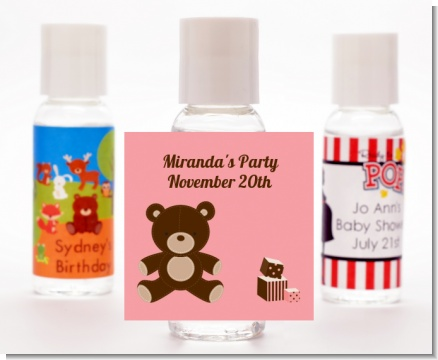 Teddy Bear Pink - Personalized Baby Shower Hand Sanitizers Favors