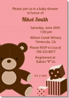 Teddy Bear Pink - Baby Shower Invitations