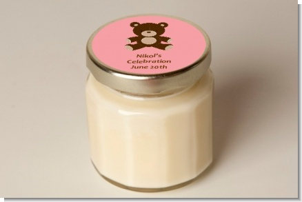 Teddy Bear Pink - Baby Shower Personalized Candle Jar