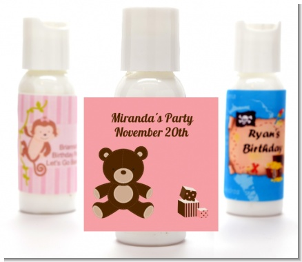 Teddy Bear Pink - Personalized Baby Shower Lotion Favors