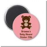 Teddy Bear Pink - Personalized Baby Shower Magnet Favors