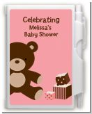 Teddy Bear Pink - Baby Shower Personalized Notebook Favor
