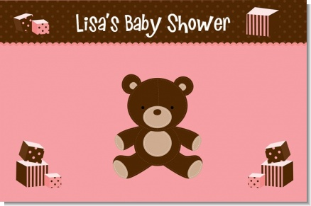 Teddy Bear Pink - Personalized Baby Shower Placemats