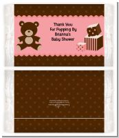 Teddy Bear Pink - Personalized Popcorn Wrapper Baby Shower Favors