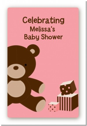 Teddy Bear Pink - Custom Large Rectangle Baby Shower Sticker/Labels