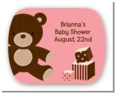 Teddy Bear Pink - Personalized Baby Shower Rounded Corner Stickers