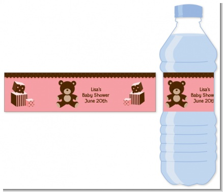 Teddy Bear Pink - Personalized Baby Shower Water Bottle Labels