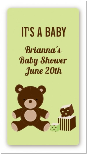 Teddy Bear Neutral - Custom Rectangle Baby Shower Sticker/Labels