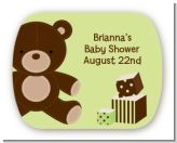 Teddy Bear Neutral - Personalized Baby Shower Rounded Corner Stickers