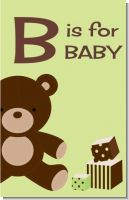 Teddy Bear Neutral - Personalized Baby Shower Nursery Wall Art