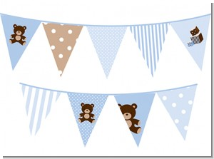 Teddy Bear Blue - Baby Shower Themed Pennant Set