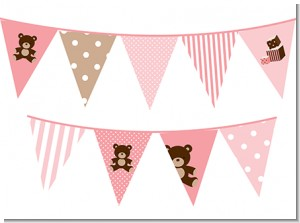 Teddy Bear Pink - Baby Shower Themed Pennant Set