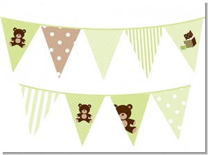 Teddy Bear Neutral - Baby Shower Themed Pennant Set
