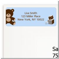 Teddy Bear Blue - Baby Shower Return Address Labels