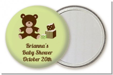 Teddy Bear Neutral - Personalized Baby Shower Pocket Mirror Favors