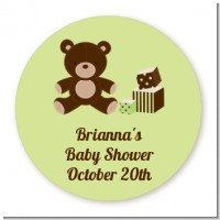 Teddy Bear Neutral - Round Personalized Baby Shower Sticker Labels
