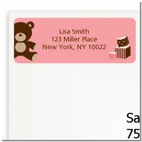 Teddy Bear Pink - Baby Shower Return Address Labels