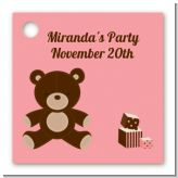 Teddy Bear Pink - Personalized Baby Shower Card Stock Favor Tags