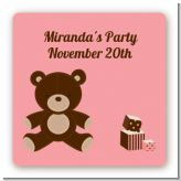 Teddy Bear Pink - Square Personalized Baby Shower Sticker Labels