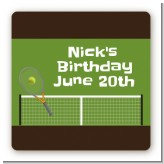Tennis - Square Personalized Birthday Party Sticker Labels