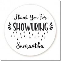 Thank You For Showering - Round Personalized Bridal Shower Sticker Labels