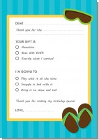 Flip Flops Boy Pool Party - Birthday Party Fill In Thank You Cards
