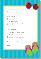 Flip Flops Girl Pool Party - Birthday Party Fill In Thank You Cards