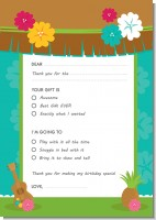 Luau Friends - Birthday Party Fill In Thank You Cards