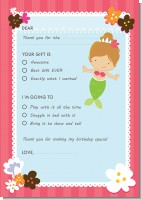 Mermaid Brown Hair - Birthday Party Fill In Thank You Cards