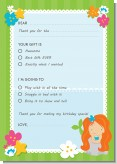 Mermaid Red Hair - Birthday Party Fill In Thank You Cards
