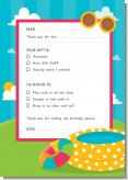 Pool Party - Birthday Party Fill In Thank You Cards