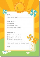 You Are My Sunshine - Birthday Party Fill In Thank You Cards