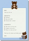 Teddy Bear Blue - Birthday Party Fill In Thank You Cards