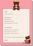 Teddy Bear Pink - Birthday Party Fill In Thank You Cards