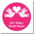 The Love Birds - Round Personalized Bridal Shower Sticker Labels thumbnail