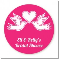 The Love Birds - Round Personalized Bridal Shower Sticker Labels