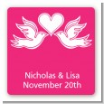 The Love Birds - Square Personalized Bridal Shower Sticker Labels thumbnail