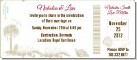 Beach Scene - Bridal Shower Destination Boarding Pass Invitations