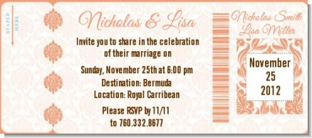 Orange Damask - Bridal Shower Destination Boarding Pass Invitations