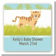 Tiger - Square Personalized Baby Shower Sticker Labels thumbnail