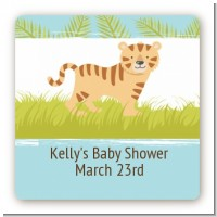 Tiger - Square Personalized Baby Shower Sticker Labels
