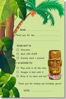 Luau Tiki - Birthday Party Fill In Thank You Cards