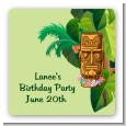 Luau Tiki - Square Personalized Birthday Party Sticker Labels thumbnail