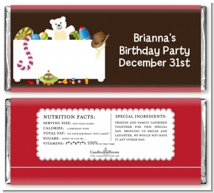 Toy Chest - Personalized Birthday Party Candy Bar Wrappers