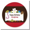 Toy Chest - Round Personalized Birthday Party Sticker Labels thumbnail