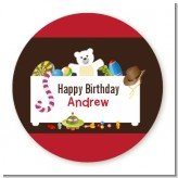 Toy Chest - Round Personalized Birthday Party Sticker Labels