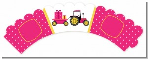 Tractor Truck Pink - Baby Shower Cupcake Wrappers