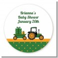 Tractor Truck - Round Personalized Baby Shower Sticker Labels thumbnail