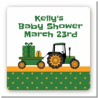 Tractor Truck - Square Personalized Baby Shower Sticker Labels