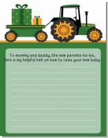 Tractor Truck - Baby Shower Notes of Advice